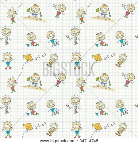 Children Play Seamless Wallpaper