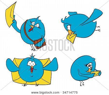vier Vögel mit Buchstaben