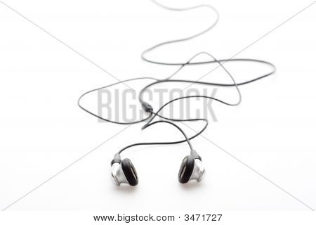 Silver Earphones Isolated On White Background