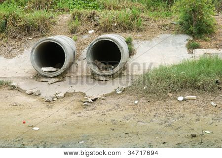 Dirty Drain Polluting A River
