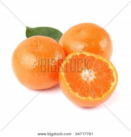 Fresh Orange Mandarins And Half With Leaf