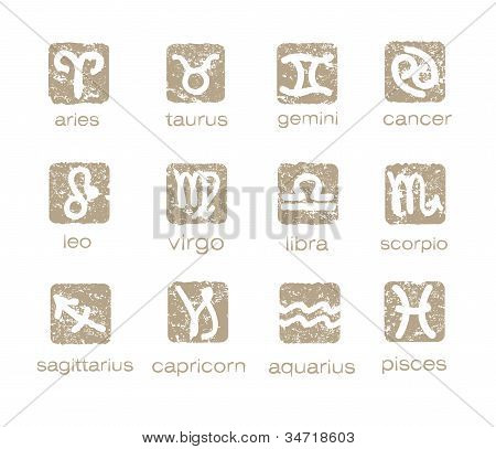 Zodiac horoscope signs vector set