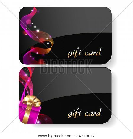 Black Gift Card Set, Isolated On White Background, Vector Illustration