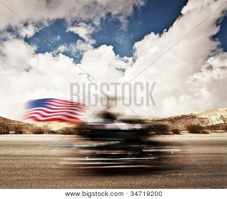 Slow motion on motorbike, blur movement on bike rider, motorcycle road trip, summer US tour ride, people traveling on countryside highway, freedom lifestyle