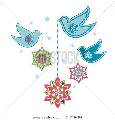 Pretty doves with hanging flowers / snowflakes / baubles