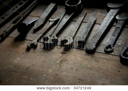Old rusty tools on a table