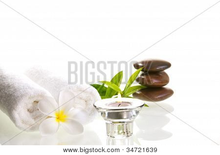 Spa Concept With Red Zen Stones And White Flower