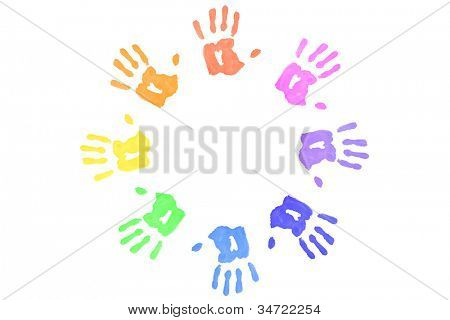 Multicolored handprints forming a circle against a white background