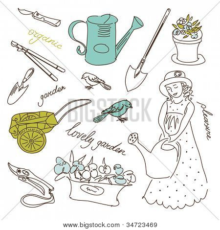 Organic Gardening set. Cute little girl and garden doodles