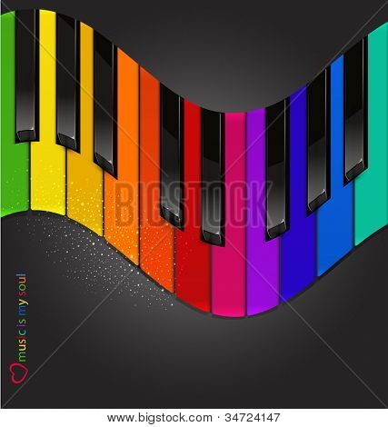 vector colorful piano keyboard in the form of waves on a black background