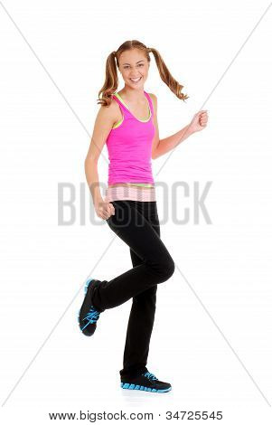 Teen girl doing fitness