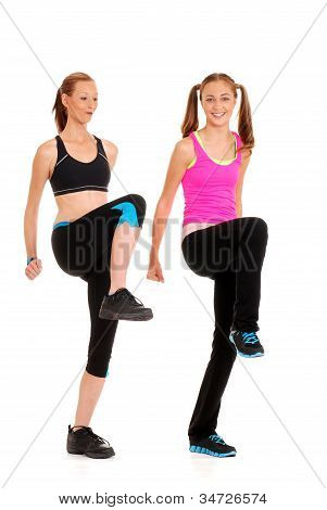 Two women doing fitness
