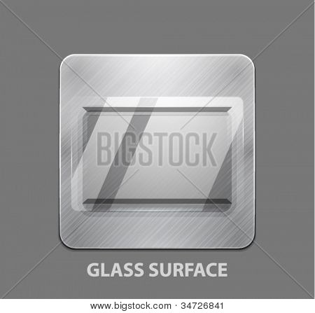 Vector app icon. Metal button with glass surface