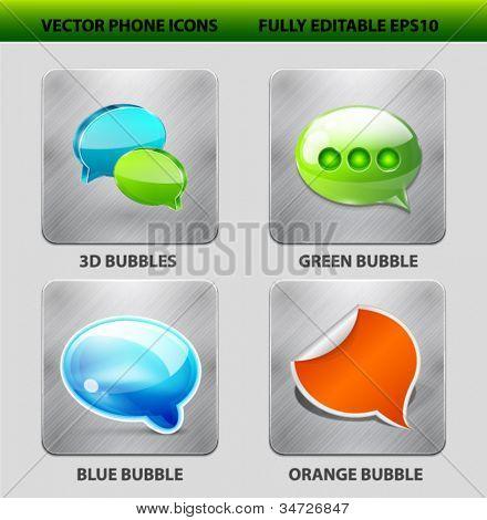 Vector mobile app icon set. Speech bubble