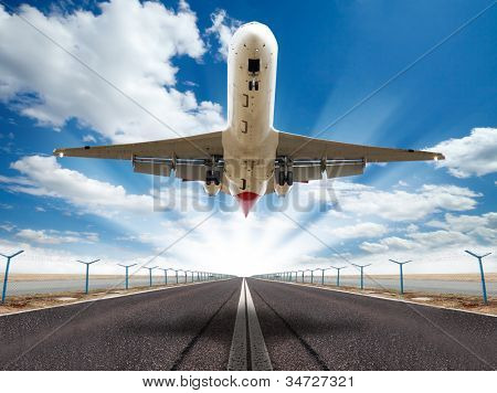 Big jet plane taking off runway