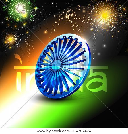 Indian flag color background with 3D Asoka wheel. EPS 10.