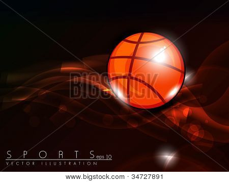 Illustration of Basketball on red wave background with text space for your message. EPS 10.