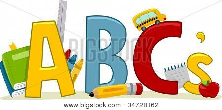 Text Illustration Featuring Letters of the Alphabet - Learning ABCs