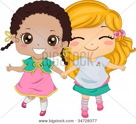 Best Friends - Illustration Featuring Two Girls Holding Hands While Walking