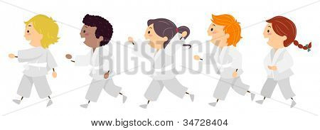 Illustration Featuring Kids Learning Karate