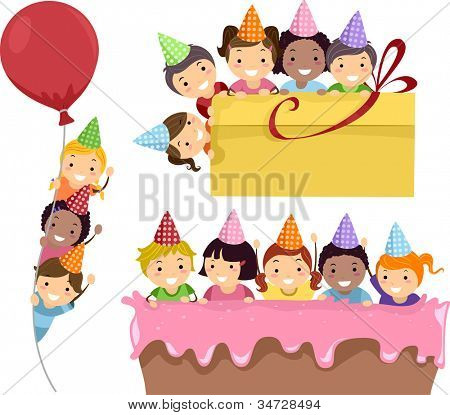 Illustration Featuring Kids Having a Birthday Party on Party Borders
