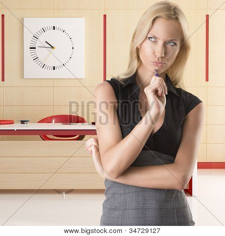 Blonde Business Woman, With Thoughtful Expression