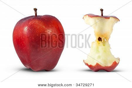 Red apple eaten to core