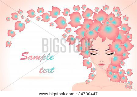 Girl  with flowers hair