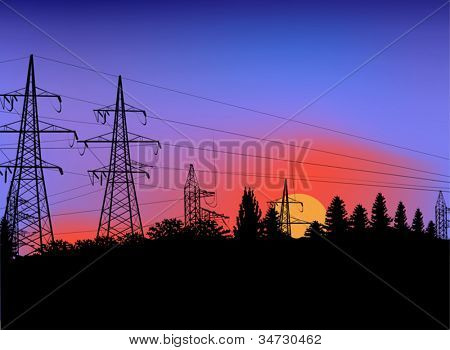 illustration with power line on sunset background