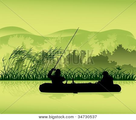 illustration with fishermen silhouette in forest lake