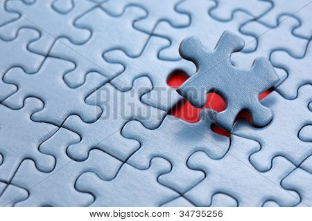 The last piece of jigsaw puzzle concept for solution and completion