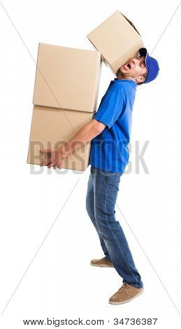 Portrait of a funny deliverer. Isolated on white
