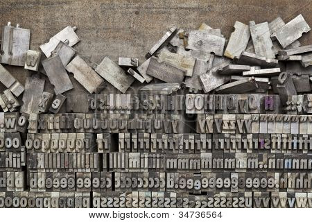 disorganized vintage grunge metal letterpress printing blocks on a tray