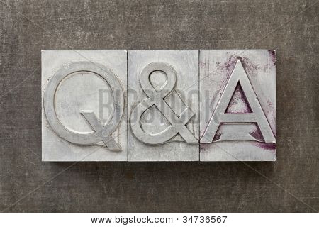 Q&A - questions and answers acronym - text in vintage letterpress metal type