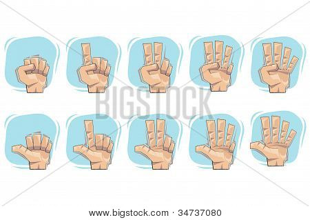 Doodle Hand Number Sign Icons