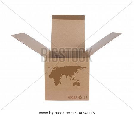 Cardboard Box With Icon Ecological Map Eu+asia
