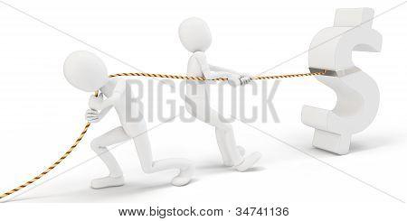 3D Man Pulling A Dollar Sign