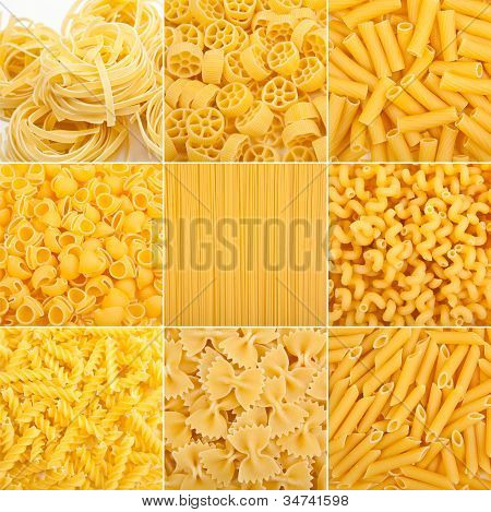 food collage of different kinds of italian pasta