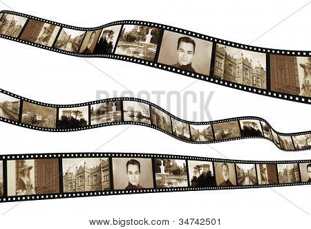 Memories - retro photo with filmstrip. Isolated over white
