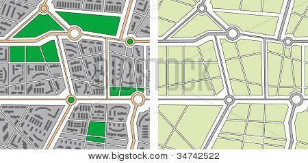 Collection of seamless patterns - city map. Rasterized version of vector illustration