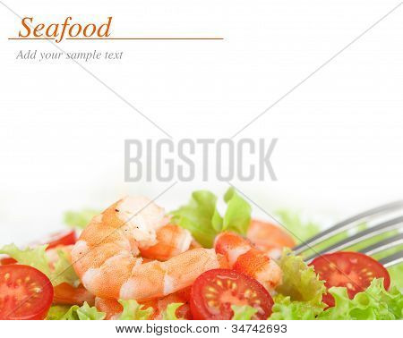 Shrimps With Salad And Tomatoes