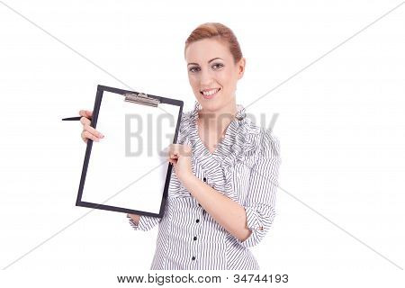 Young Woman With Clipboard Isolated On White