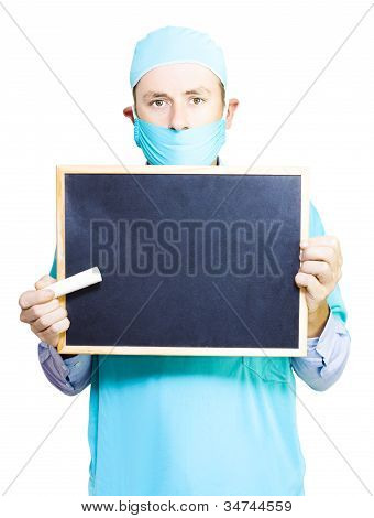 Doctor Holding A Blackboard And Chalk