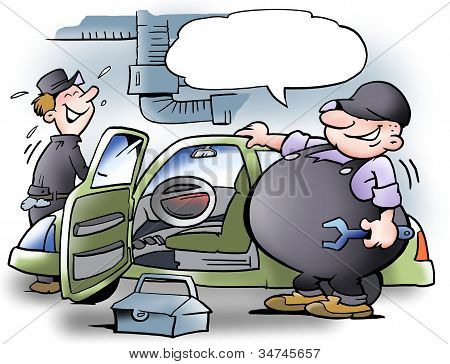 Fat Man Examining Car
