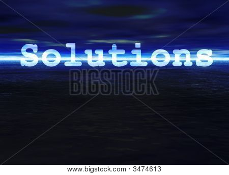 Solutions Text On Stunning Blue Bright Ocean Sea Horizon At Night