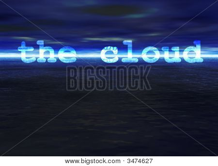 The Cloud Text On Stunning Blue Bright Ocean Sea Horizon At Night