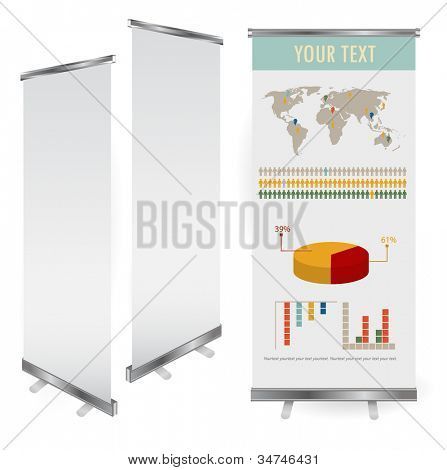 Vektor leer roll-up Banner Display Vorlage für Designer