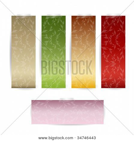 Tag Set with Luxury pattern background. Vector Illustration.