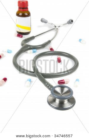 Stethoscope And Colorful Pills