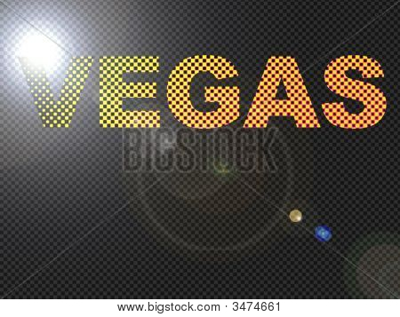 Dotted Led Lit Vegas Sign Glowing Bright Orange